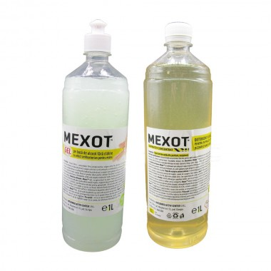 Pachet solutii dezinfectante, gel si solutie bio maini, Mexot - Gel cu alcool  1L, Mexot - Solutie Concentrata pentru Suprafete, 1l