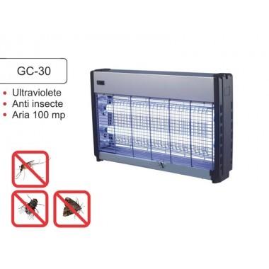 Distrugator insecte pe baza de lampi UV si retea de inalta tensiune electrocutoare GC 30W  100 mp, semiprofesional