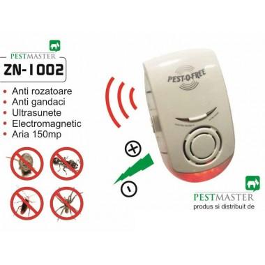 Aparat cu ultrasunete si unde electromagnetice impotriva soarecilor, rozatoarelor si insectelor taratoare Pestmaster ZN1002  150 mp